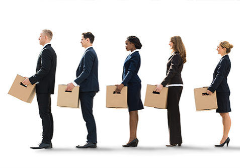 Unemployed Employees Standing In A Row After Layoff With Cardboard Boxes
